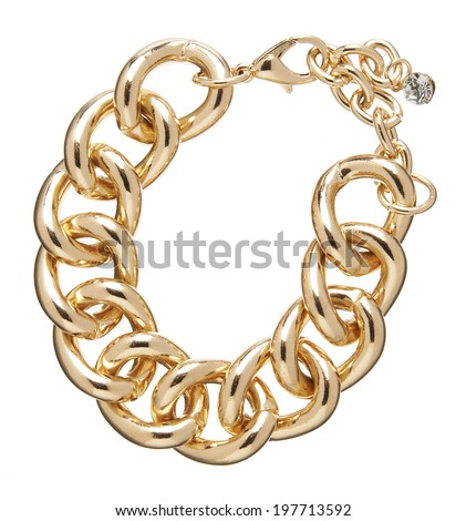 Golden chain isolated on white background - stock photo