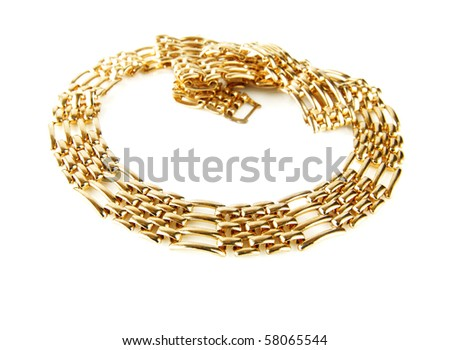 Golden chain isolated on white background