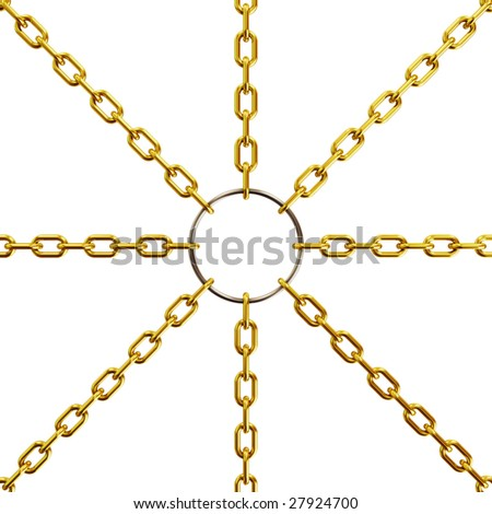 Golden chain on white background (3d rendering)