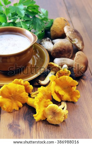 golden chanterelles and penny bun mushroom soup with cup and spoon. aside bunch of parsley - stock photo