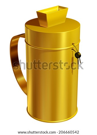 golden charity can or donation box - stock photo
