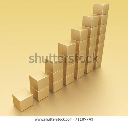 Golden chart - stock photo