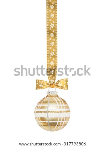 Golden checkered Christmas sphere with ribbon and bow isolated on the white - stock photo