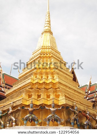Golden Chedi, Temple of the Emerald Buddha in Bangkok, Thailand - stock photo