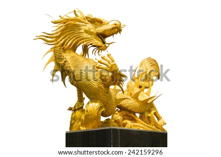 Golden Chinese dragon on isolate background - stock photo