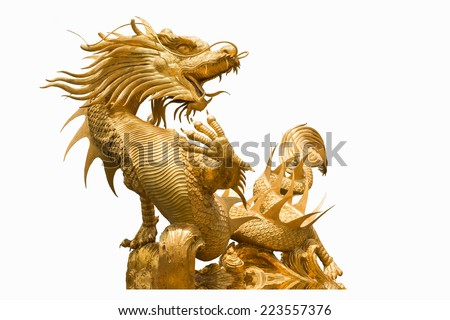 Golden Chinese dragon statue on isolate background - stock photo