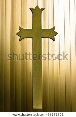 Golden Christian Cross Background - stock photo