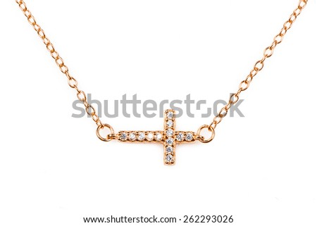 Golden christianity cross pendant with diamonds  on a chain