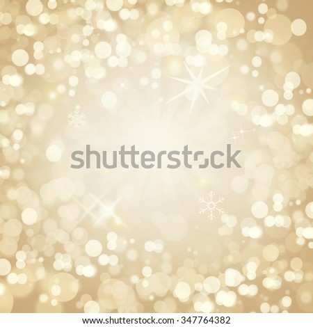 Golden Christmas Abstract Background. Defocuse Bokeh Background - stock photo