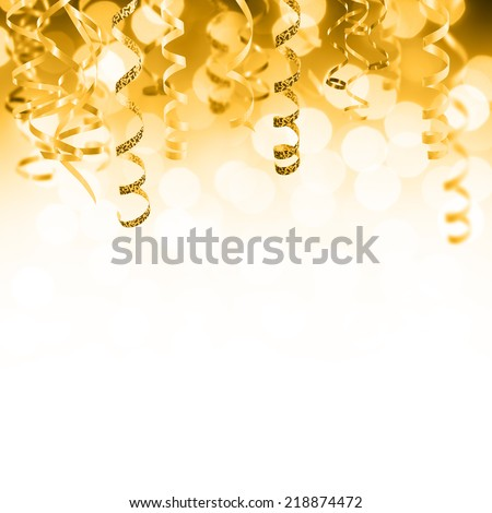 Golden Christmas and New Year holiday background - stock photo