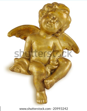 Golden christmas angel isolated on white (mass product).