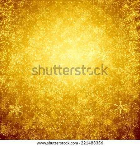 golden christmas background with star - stock photo