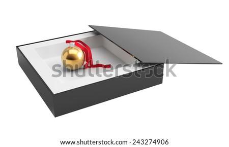 Golden christmas ball in box. 3d render illustration - stock photo