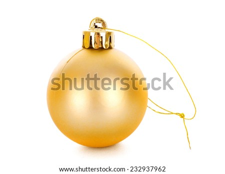 Golden christmas ball, isolated on white