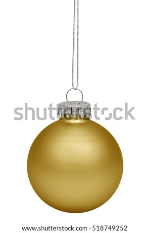 Golden christmas bauble isolated on white background. Christmas ornament