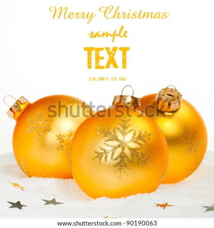 golden Christmas bauble isolater on white