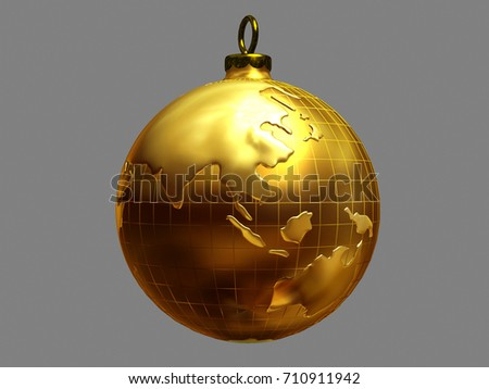 Golden christmas bauble ornamented world map stock illustration golden christmas bauble ornamented with world map view on asia and australia 3d gumiabroncs