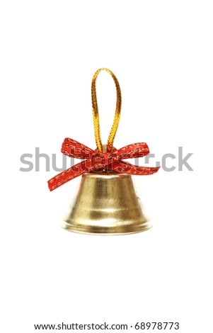 golden christmas bell with red bow - stock photo