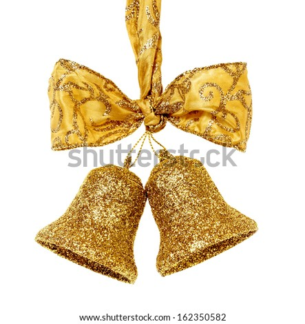 Golden christmas bells with bow isolated on white background  - stock photo
