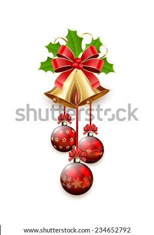 Golden Christmas bells with red bow, tinsel and Holly berries isolated on white background, illustration. - stock photo