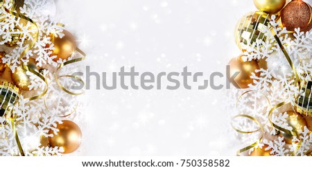 golden christmas border baubles shiny branches stock photo edit now