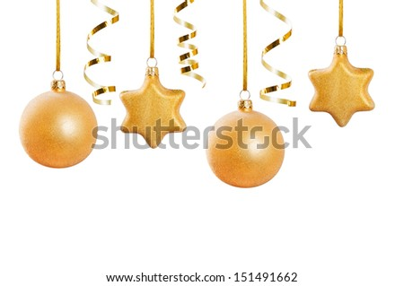 Golden Christmas decorations isolated on white - stock photo