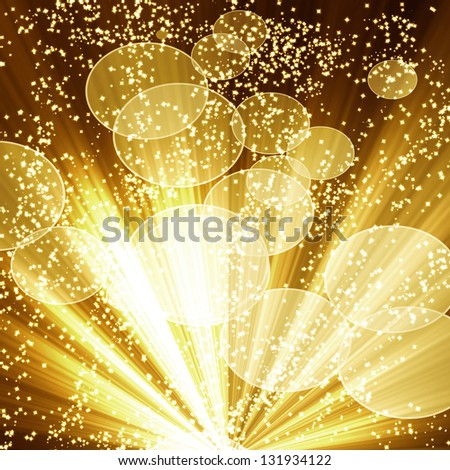 Golden christmas or festive background with soft highlights and  shades - stock photo
