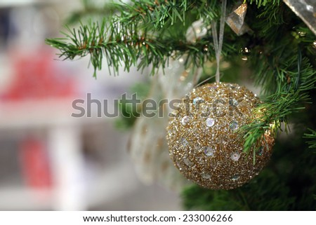 golden christmas ornament - stock photo