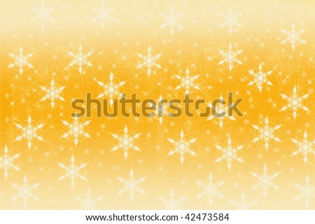 Golden Christmas snowflake background. - stock photo