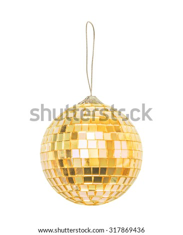 Golden Christmas sphere isolated on the white