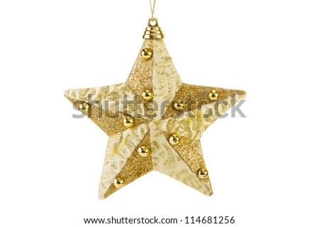 golden Christmas star decoration for hanging on tree, isolated on white - stock photo