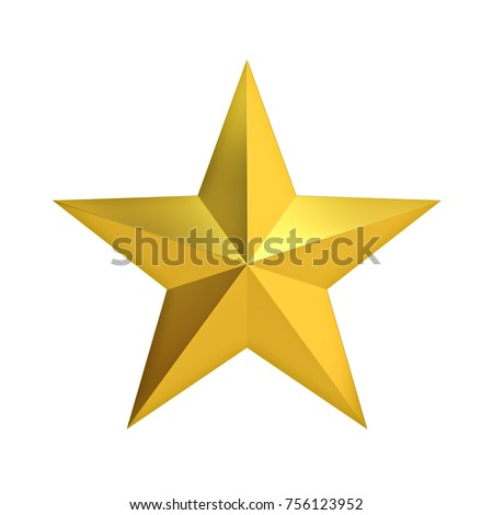 Golden Christmas Star for christmas decoration and other events isolated on white background . 3D rendering.