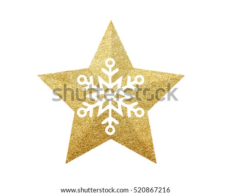 Golden Christmas star with snowflake isolated on white background