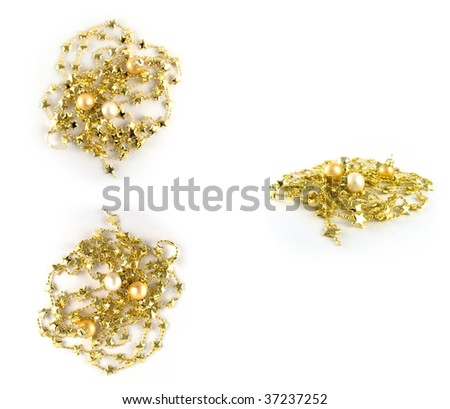 golden christmas stars chain isolated - stock photo
