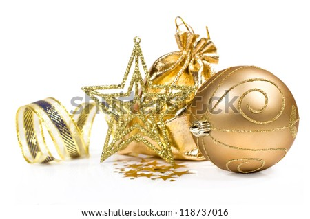 Golden Christmas still life isolated on white