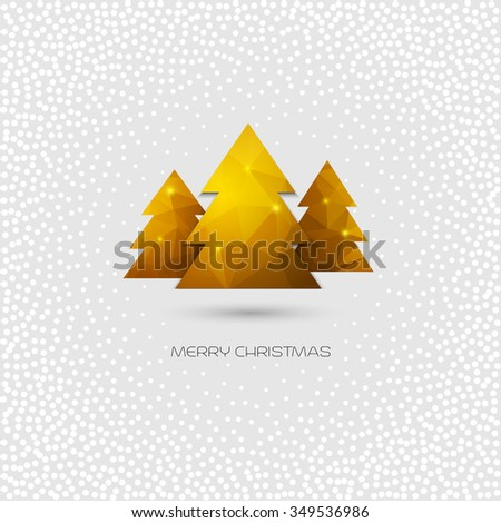 Golden Christmas tree. Merry Christmas greeting card. polygonal design. Raster copy - stock photo