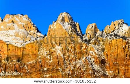 Golden Cliffs of Zion National Park - stock photo