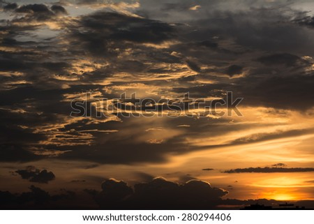 Golden cloud in the sky during sunset. otherwise it can be use as a picture for cover books and it use to be a picture of sunrise. - stock photo