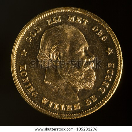 Golden coin king Willem III of the Netherlands - stock photo