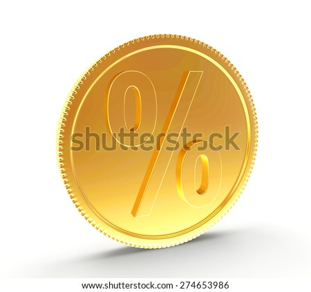 Golden coin with a percent sign isolated on white background - stock photo