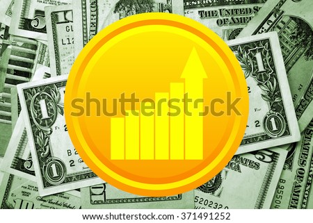 Golden coin with business growth charts on money background - stock photo