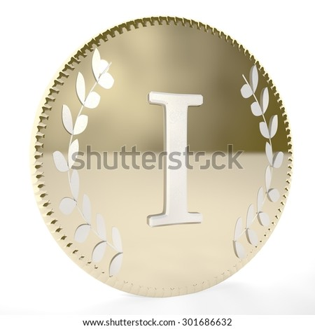 Golden coin with I letter and laurel leaves, white background, 3d render, square image - stock photo
