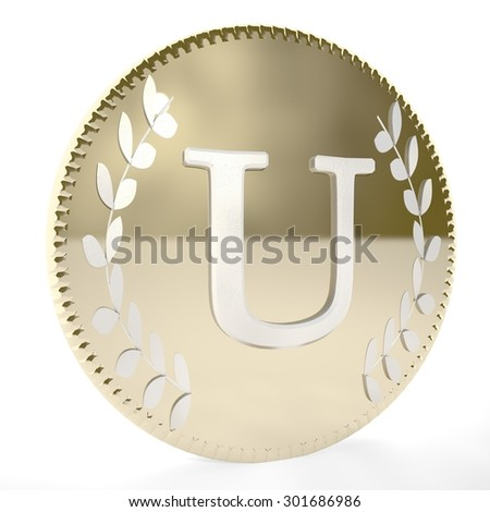 Golden coin with U letter and laurel leaves, white background, 3d render, square image - stock photo