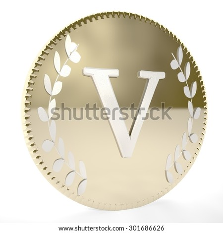 Golden coin with V letter and laurel leaves, white background, 3d render, square image - stock photo