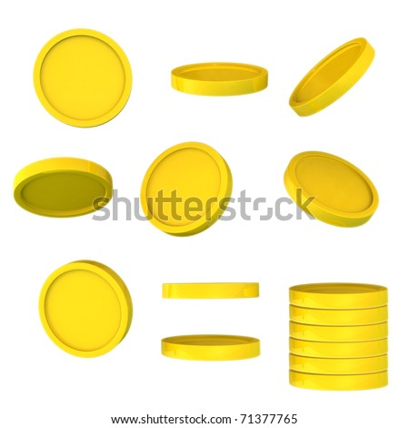 Golden coins from a different angle - stock photo