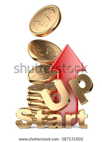 Golden coins in pile and red arrow up. Startup concept isolated on white background.  - stock photo