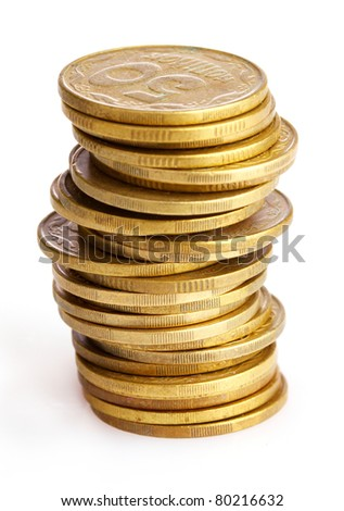 golden coins isolated on white. Ukrainian coins