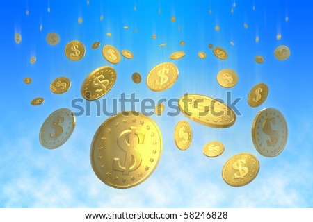 Golden coins with dollar signs falling from the sky - stock photo