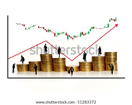 golden coins with graph and silhouettes of businessmen - stock photo