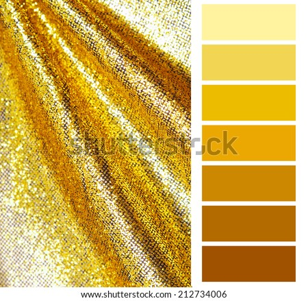 golden color chart selection for interior - stock photo